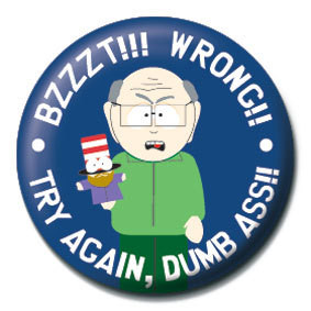 Placka SOUTH PARK - Bzzzt!! Wrong!!