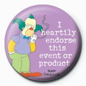 Odznak THE SIMPSONS - krusty endorse ...