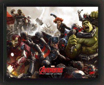 Avengers 2: Vek Ultrona - Battle - 3D plagát s rámom