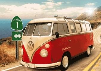 3D Plagát Californian Camper - route