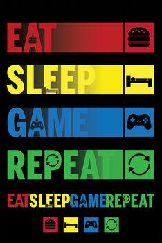 Plagát Eat Sleep Game Repeat