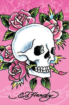 Plagát Ed Hardy - pink skull and roses