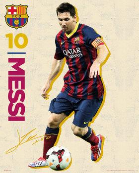 Plagát FC Barcelona - Messi Vintage 13/14