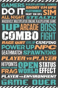 Plagát Gaming - Typographic