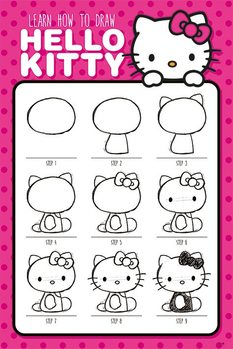 Plagát Hello Kitty - How to Draw