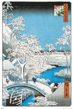 Plagát Hiroshige - The Drum Bridge