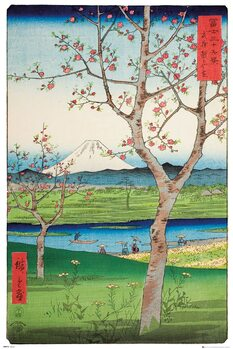 Plagát Hiroshige - The Outskirts of Koshigaya