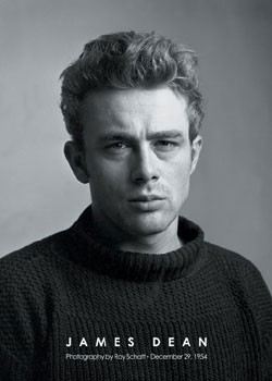 Plagát James Dean - portrait b&w