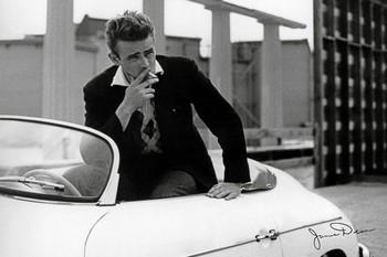 Plagát James Dean - white car