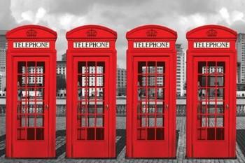 Plagát Londýn - phone boxes