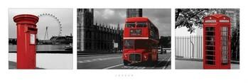 Plagát Londýn - red triptych