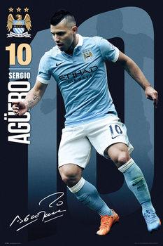 Plagát Manchester City FC - Aguero 15/16