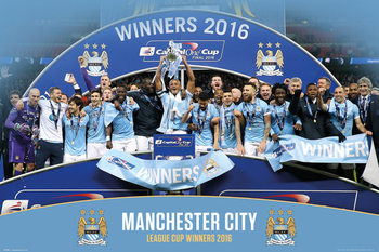 Plagát Manchester City FC - League Cup Winners 15/16
