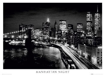 Plagát Manhattan - night b&w