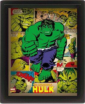 Marvel Retro - Hulk  - 3D plagát s rámom