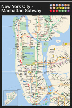 Plagát New York - Manhattan Subway Map