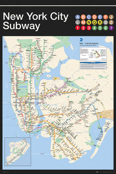 Plagát New York - Subway Map