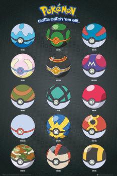 Plagát Pokémon - Pokeballs