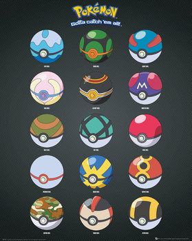 Plagát  Pokemon - Pokeballs