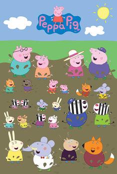 Plagát Prasiatko Peppa - Characters Muddy Puddle