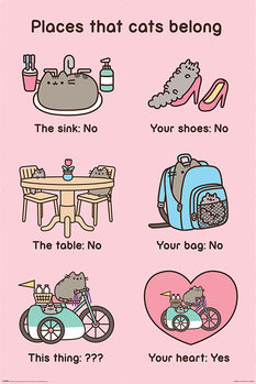 Plagát Pusheen - Places Cats Belong