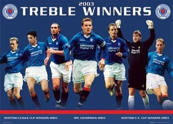 Plagát Rangers - treble winners