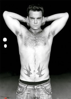 Plagát Robbie Williams - torso b&w