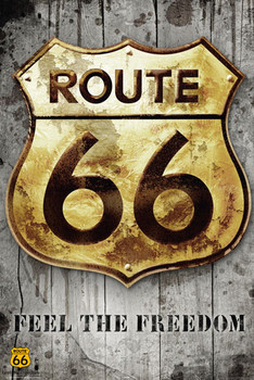 Plagát Route 66 - golden sign