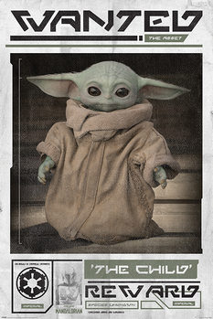 Plagát Star Wars: The Mandalorian - Wanted The Child (Baby Yoda)