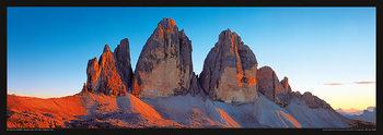 Plagát Taliansko - Dolomity, Saas Rigais západ slunce