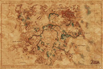 Plagát  The Legend Of Zelda: Breath Of The Wild - Hyrule World Map