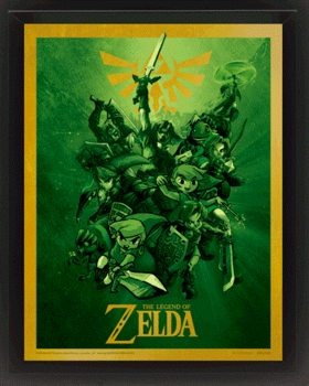 The Legend Of Zelda - Link - 3D plagát s rámom