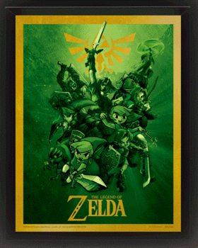 The Legend Of Zelda - Link - 3D plagát s rámom