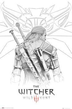 Plagát The Witcher - Geralt Sketch