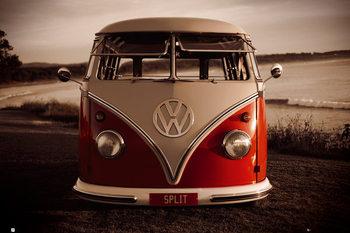 Plagát VW Volkswagen - Red kombi