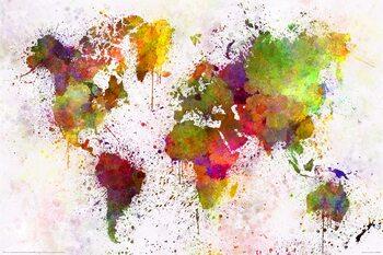 Plagát World Map - Watercolour
