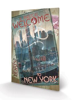 Legendás állatok és megfigyelésük - New York plakát fatáblán