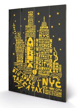New York - Citography plakát fatáblán
