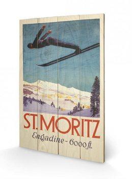 St. Moritz plakát fatáblán