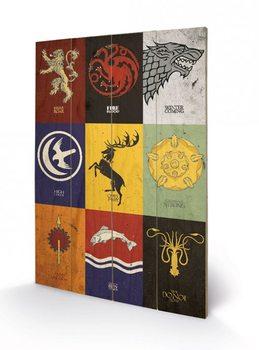 Trónok harca - Game of Thrones - Sigils plakát fatáblán