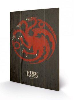 Trónok harca - Game of Thrones - Targaryen plakát fatáblán