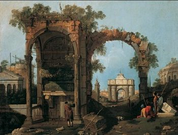 Capriccio with Classical Ruins and Buildings Kunsttryk