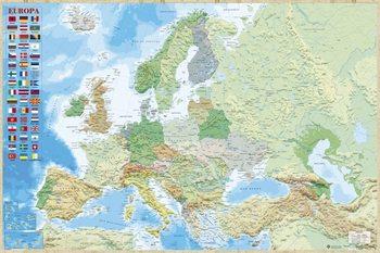 Europakort - Politisk Plakat