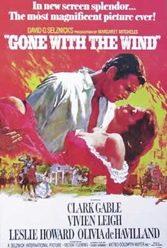 Gone with the wind - Vivian Leigh, Clark Gable Plakat