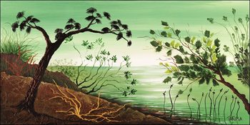 Green sunrise Kunsttryk