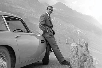 Plakat James Bond - Connery & Aston Martin