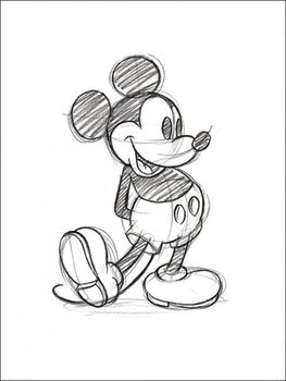 Mickey Mouse - Sketched Single Kunsttryk