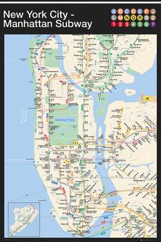New York - Manhattan Subway Map Plakat