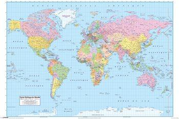Politieke Wereldkaart (FR) - Wandkaart Plakater