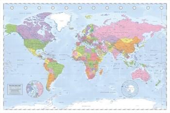Politieke Wereldkaart - Wandkaart Plakater
